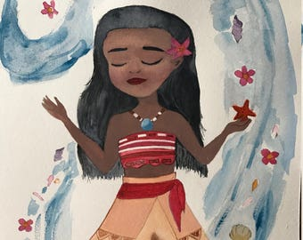 moana watercolor painting 305*229 mm 12*9 inches