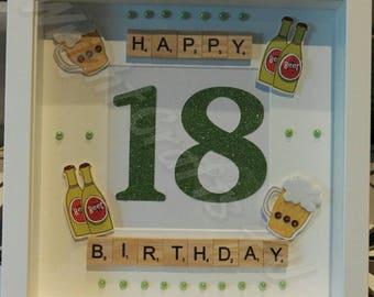 Happy 18th Birthday Scrabble Frame - Male