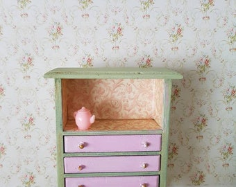 Dollhouse  Miniature,Chest of Drawers,Damask Paper,Antique Green,Dolls Furniture,Shabby Cottage Chic,Display Cabinet,1:12th Scale