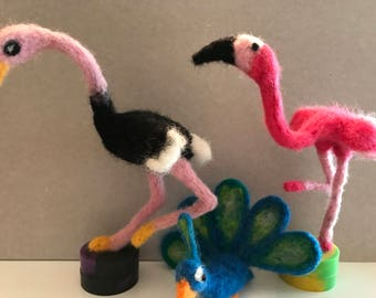 Wool needle felted birds
