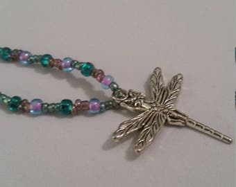 Teal and Aqua Dragonfly Necklace