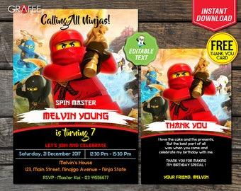 Lego Ninjago Invitation 5x7 - EDITABLE Text - Lego Ninjago Birthday Party Card - Instant Download - Lego Ninjago Customize - Free Thank Card