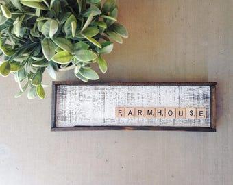 Farmhouse Scrabble Wood Sign