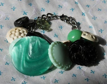 Green with Envy, Handmade Vintage charm button bracelet