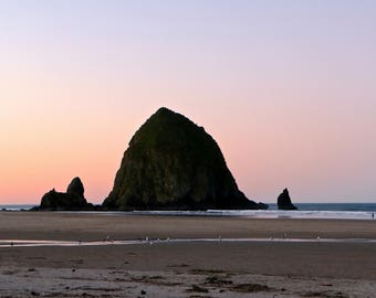Haystack Rock Photo, Cannon Beach, Oregon, Pacific Northwest, Coastline, West Coast, Photograph