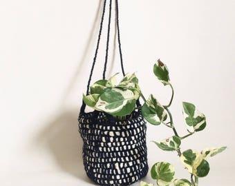 Hand woven hanging basket