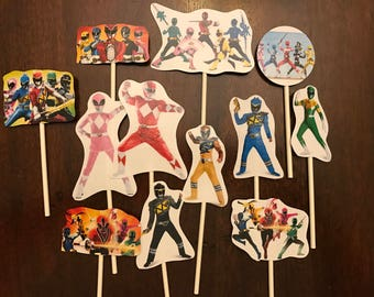 Power Ranger cupcake toppers. (12) Power Ranger cake toppers. Birthday party supplies.