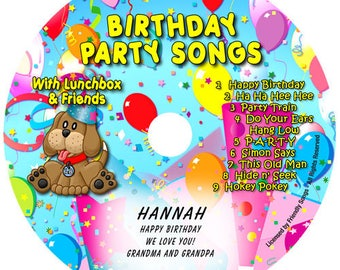 Personalized children's Birthday Party Songs CD. Your child's name in the songs!