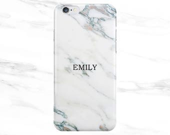 Personalised Name initials white Marble Phone Case Cover for Apple iPhone 5 6 6s 7 8 Plus & Samsung Galaxy Customized Monogram