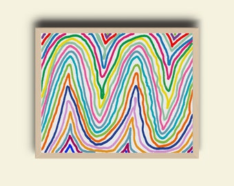 River Of Happiness. Print Painting. Abstract Multicolour.