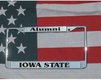 IOWA STATE Alumni Chrome Laser Engraved License Plate Frame FREE Shipping