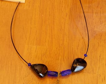 Royal blue puzzle necklace