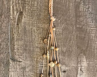 Braided Leather Y Necklace with African Beads