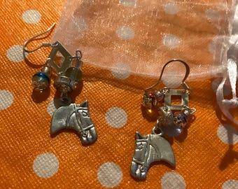horse charmed earrings