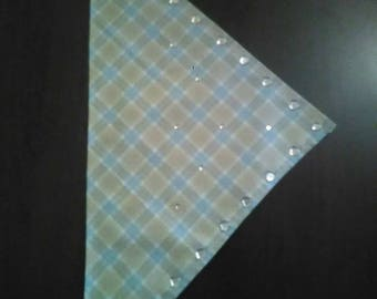 S Baby Blue Tan Plaid Heart Gem Bandana