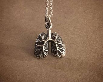Anatomical Lungs Necklace - Sterling Silver