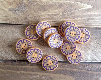 Buttons, Polymer Clay, Craft Supplies, Sewing Supplies, set of 4