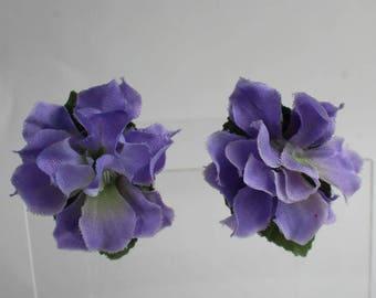 Flower Earrings Pretty Springtime Wedding Bridal Floral Jewelry Silk Fabric