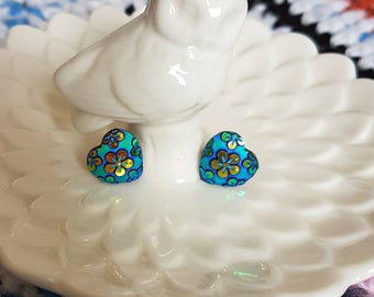Handmade shimmery floral heart button stud earrings