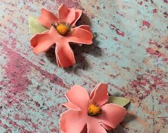 Girls Peach mini Hair Clip Set