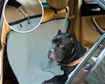 """Pet Seat Cover For Car, Dog Hammock Waterproof Universal Size 52""""x58"""", Back Protector For Truck & SUV, Gray Quilted Durable Design"""
