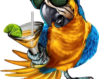 Drinking parrot decal, full color parrot with sunglasses holding a drink decal, full color drinking parrot decal, fun alcohol decal