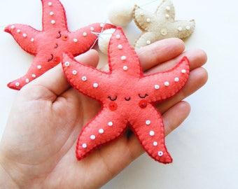 Felt PDF sewing pattern - Starfish mobile - Felt ornaments, easy sewing pattern, DIY, hand sewing pattern, summer decoration