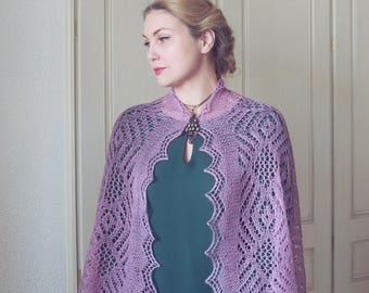 Hand knit stole in Russian style