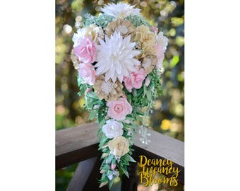Cascading Paper Flower Bouquet, bridal paper flowers bouquet, forever flowers, beautiful cascading bouquet for wedding, paper crafting obra