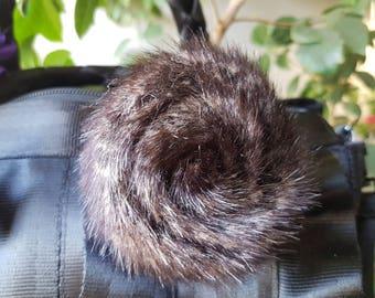 Faux fur rosette for Harveys seatbelt bag