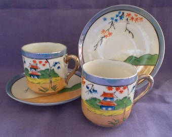 Vintage Pair Cups and Saucers Klimax Japanese Demitasse Hand Painted Bone China Pagoda Tree Pattern in Lustre Glaze