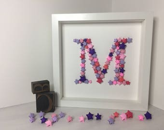 Made-to-order hand-folded letter initial box frame in pinks and purples