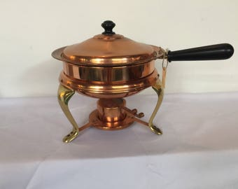 Vintage Copper Food Warmer with Sterno,  5 pieces