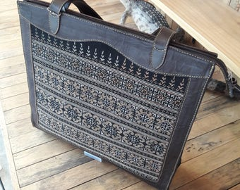 Tote bag cow leathe integrate with Hmong embroidery fabric