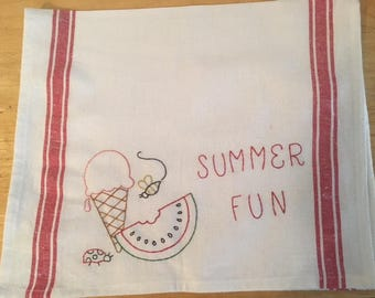 Embroidered kitchen tea towel