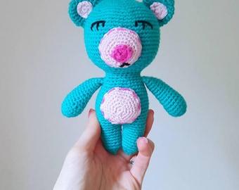 Handmade Teal Amigurumi Bear