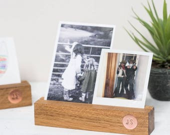 Personalised Oak And Copper Photo Block