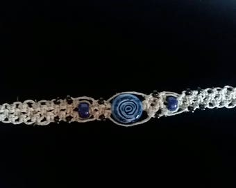 Hemp Macrame Bracelet with Blue and Black Beads 7.5in Handcrafted