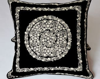 Hand Embroidered Linen Pillow Cover, Decorative Pillow, Gift Items