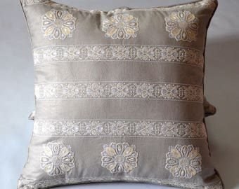 Hand Embroidered Linen Pillow Cover