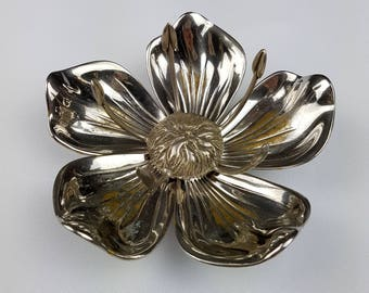 Ashtray chromed with its 5 removable petals flower
