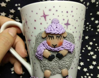 "Ceramic cup. Polymer clay. Mug with polymer clay ""sleeping Lamb"""