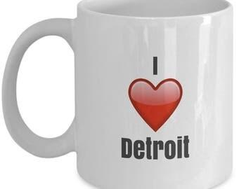 I Love Detroit unique ceramic coffee mug Gifts Idea