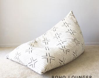 Boho Lounger™, Authentic Mudcloth Cover, White, Cream, Black, Cross, Dots, X, Lines, Geometric