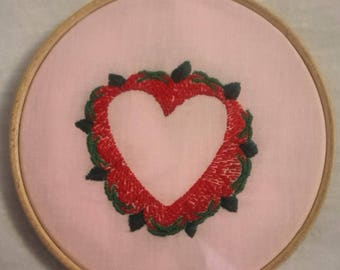 """STRAWBERRY HEART Hand Embroidered 6"""" Decorative Hoop"""