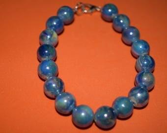 blue plastic beaded bracelet
