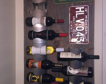 Re-claimed Barnwood wall wine rack