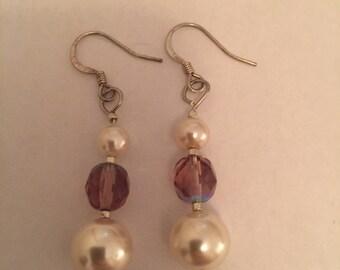 Peal and Purple Earrings
