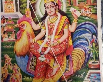Vintage Hindu God Print Bahuchar Maa