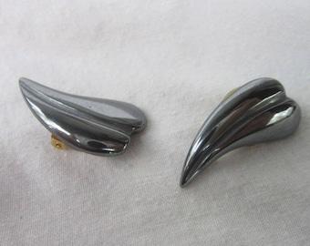 Vintage Retro Modern Hematite Stylized Clip on Earrings
